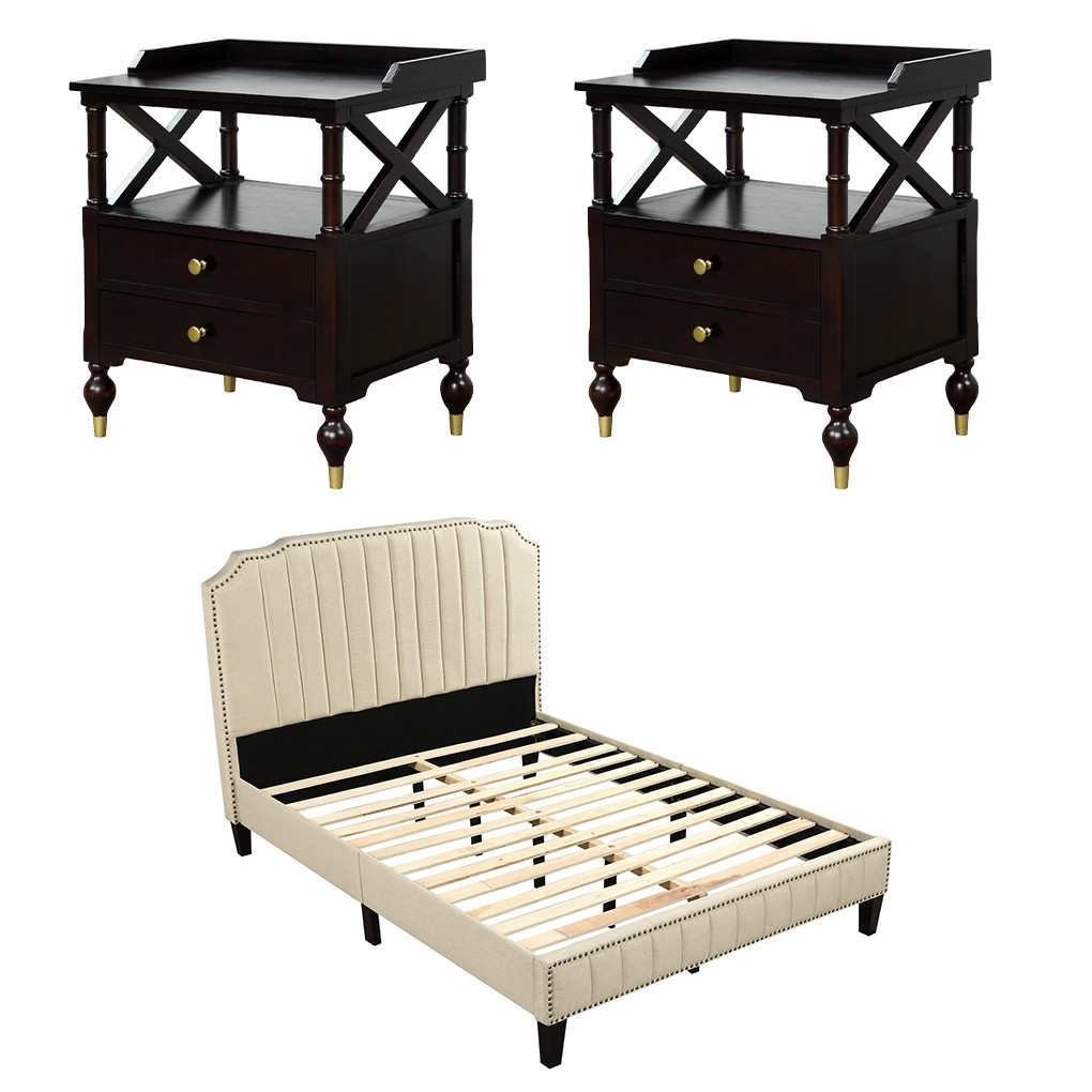 3pcs Bedroom Furniture Set Sturdy Bed Frame Stable Contemporary Night Stand For Indoor Home Full Bed Frame Walmart Com Walmart Com