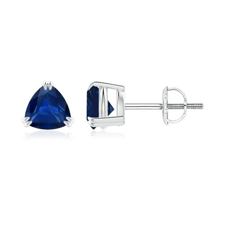 Sapphire Trillion Earrings - September Birthstone Earrings - Double Claw-Set Trillion Sapphire Stud Earrings in 14K White Gold (5mm Blue Sapphire) - SE1094S-WG-AAA-5