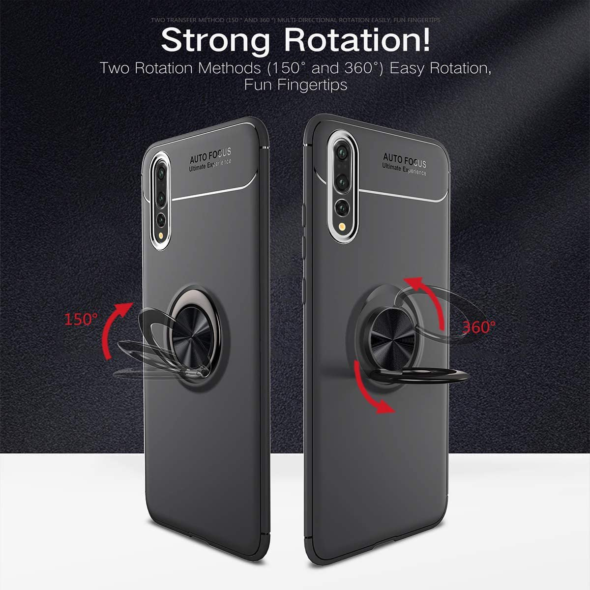 evershare Huawei P20 Pro Kickstand Case with Ring Holder Cover Soft TPU Shockproof Ultra Slim Fit for Huawei P20 Pro