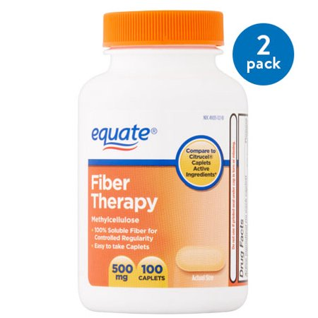 - (2 Pack) Equate Fiber Therapy Methylcellulose Caplets, 500 mg, 100 Ct