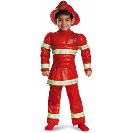 Red Fireman Toddler Muscle Halloween Costume by Disguise - Halloween Fireman Costume