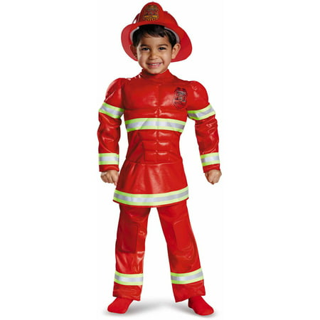 Red Fireman Toddler Muscle Halloween Costume by Disguise](Toddler Fireman Costumes)