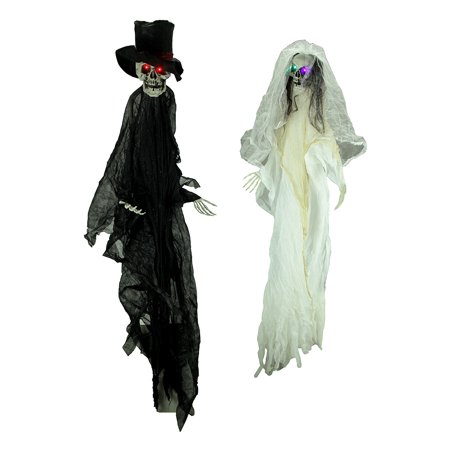 Creepy Halloween Bride and Groom Skeletons with Light Up LED Eyes