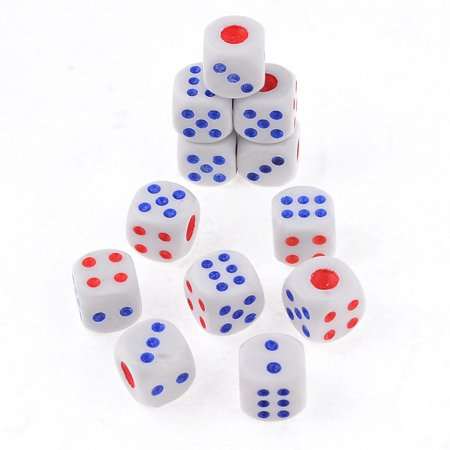 Plastic Game Dices Blue White Red 12 Pcs