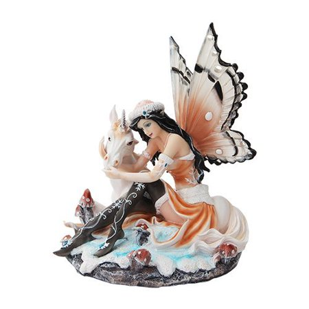 7.5 Inch Butterfly Winged Fairy with Magical Unicorn Statue