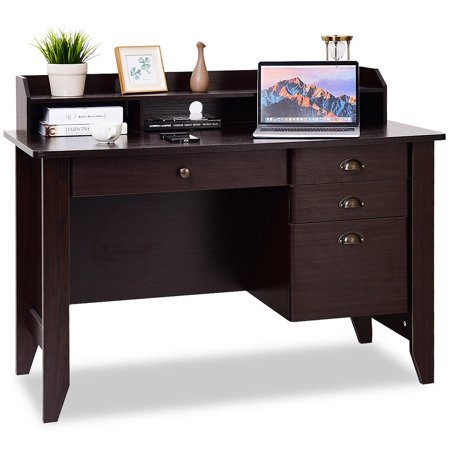 Costway Computer Desk PC Laptop Writing Table Workstation Student Study Furniture Brown