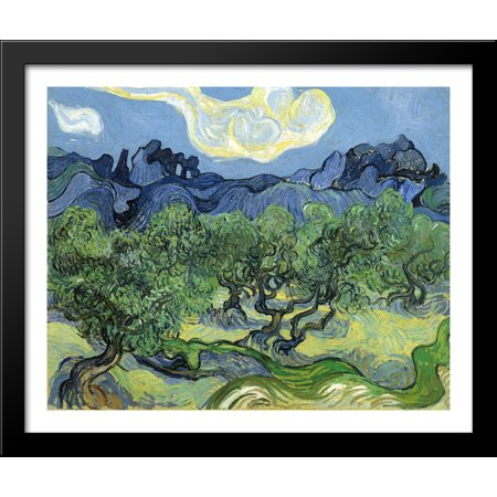 The Alpilles with Olive Trees in the Foreground 34x28 Large Black Wood Framed Print Art by Vincent van Gogh - Olive Tree Wood