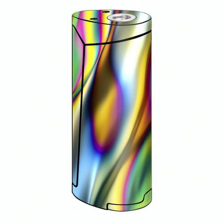 Skin Decal For Smok Priv V8 Vape / Oil Slick Rainbow Opalescent Design - Priv Distressed Oil