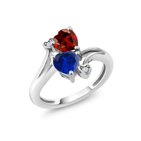 1.73 Ct Heart Shape Red Garnet Blue Simulated Sapphire 925 Sterling Silver Ring (Blue Sapphire Garnet Ring)