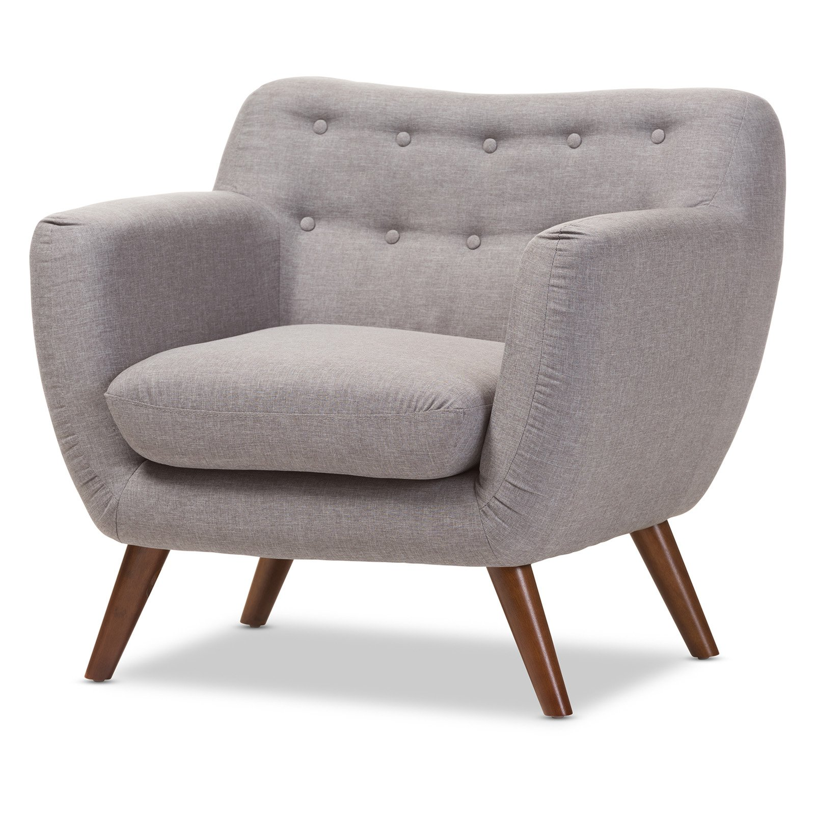 Baxton Studio Harper Mid-Century Modern Walnut Finish Button Tufted Upholstered Armchair by