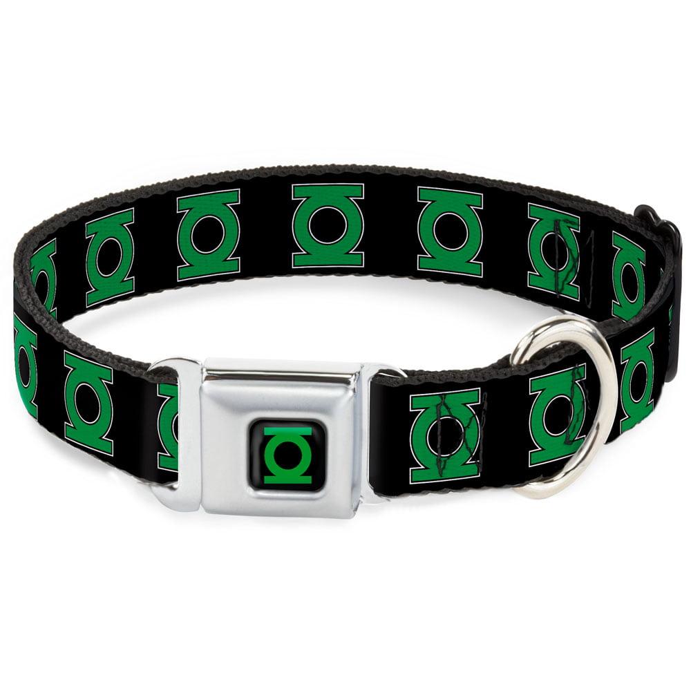 Dog Collar GLD- Green Lantern Logo CLOSE-UP Black Green - Green Lantern Pet Collar