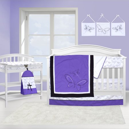 Pam Grace Creations Purple Butterfly 10 Piece Crib Bedding Set by Pam Grace Creations (Pink And Yellow Crib Set)