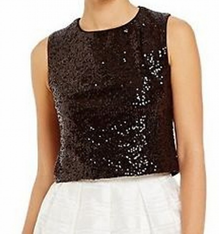 Marina NEW Black Women's Size 12 Sequin Cropped Tank Cami Keyhole Top