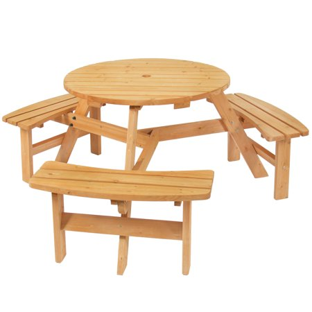 Best Choice Products 6-Person Circular Outdoor Wooden Picnic Table with 3 Built-In Benches and Umbrella Hole, Natural Colorado Picnic Tables Furniture Outdoor