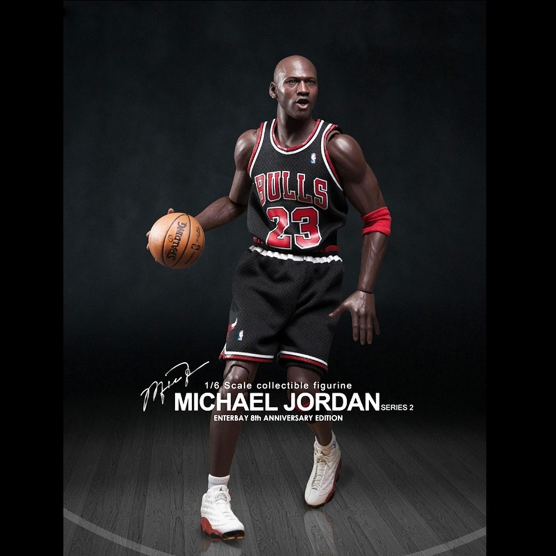 Enterbay x NBA Michael Jordan (Series 2) #23 Away Black Jersey 1:6 Figure with Air Jordan I/ XIII shoes (Gift Idea)