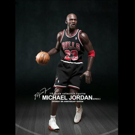 Enterbay x NBA Michael Jordan (Series 2) #23 Away Black Jersey 1:6 Figure with Air Jordan I/ XIII shoes (Christmas Gift Idea)