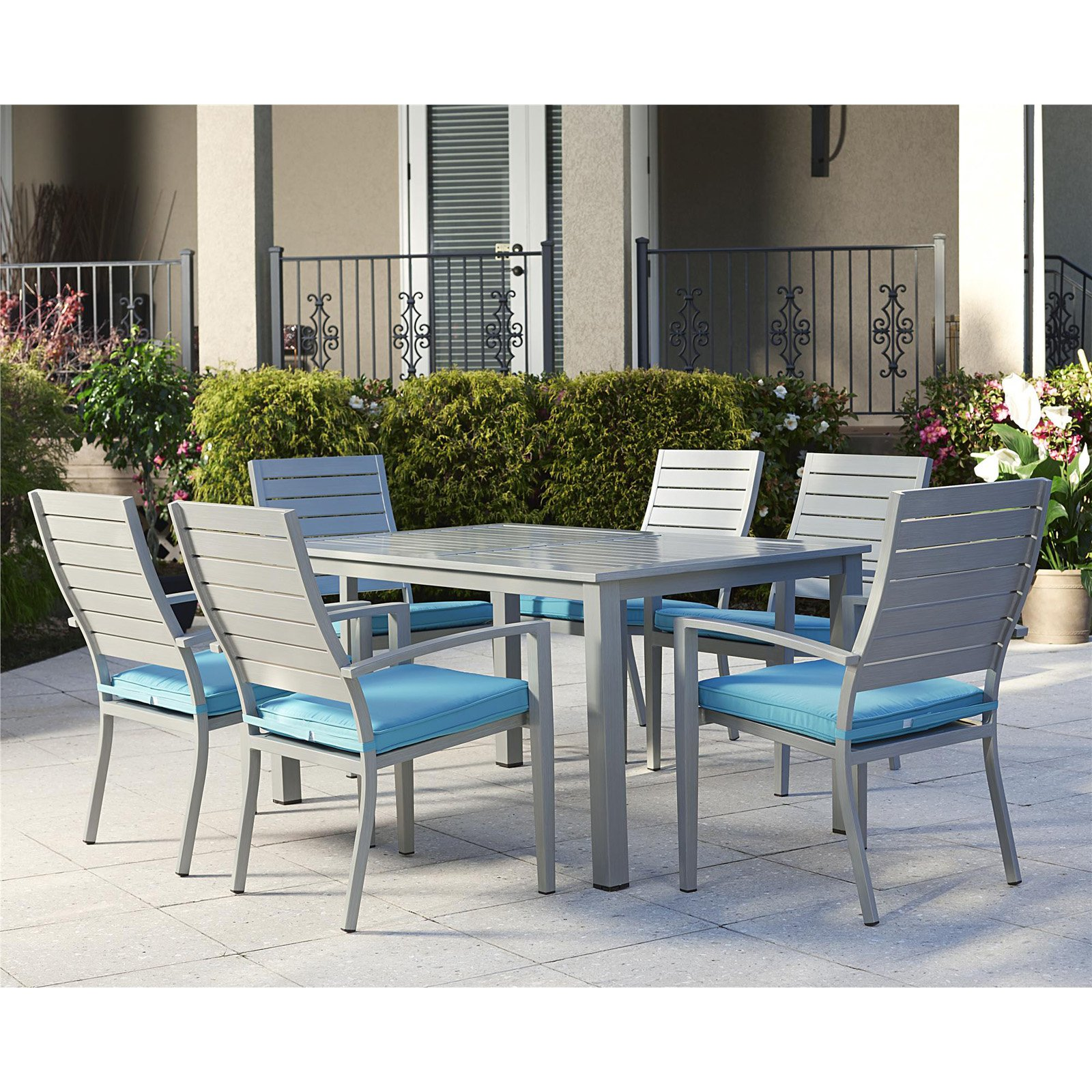 Cosco Outdoor Living Blue Veil 7 Piece Aluminum Dining Set