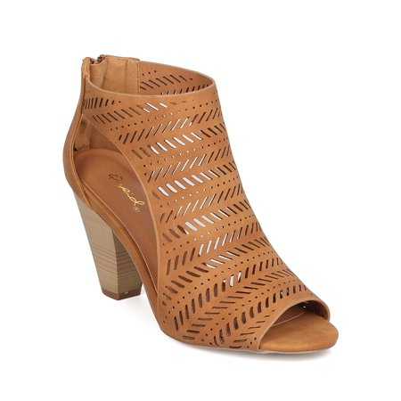 Women Nubuck Perforated Chunky Heel - Dressy, Everyday, Casual, Versatile - Cutout Pump - GB81 By Qupid