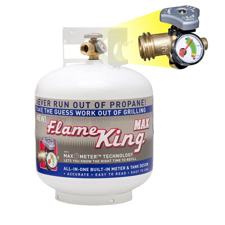 YSN230 Steel Propane Cylinder with Overflow Protection Device Valve and Built-in Gauge, 20-Pound, Never run out of propane; Flame King.., By Flame King