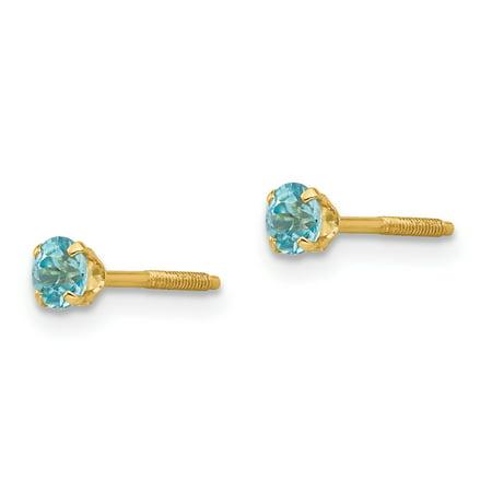 14K Yellow Gold Madi K 3mm Blue Zircon Earrings - image 1 de 2