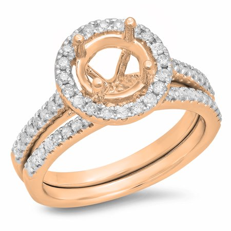 0.50 Carat (ctw) 14K Rose Gold Round Diamond Ladies Halo Style Bridal Semi Mount Engagement Ring With Matching Band Set
