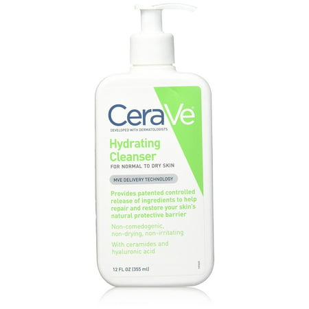 CeraVe Hydrating Facial Cleanser, Daily Face Wash for Normal to Dry Skin, 12