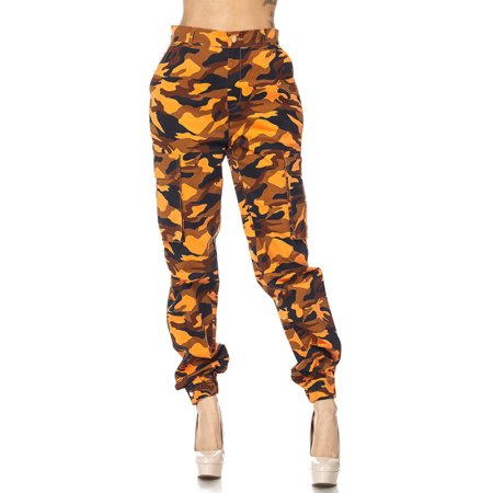 Genx - Womens Military Look Comfortable Camouflage Cargo Jogger Pants  21524-L-Orange Camo - Walmart.com 2789063fb17