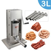 Zeny 3L Sausage Filler Sausage Stuffer 7LB Dual Speed Meat Maker, Vertical Stainless Steel Meat Sausage Stuffer w/ 4 Filling Funnels