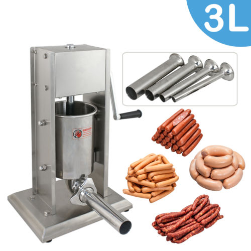 Zeny 3L Vertical Commercial Sausage Stuffer 7LB Two Speed Stainless Steel Meat Press