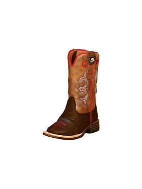 DBL Barrel 4419402-07.5 Western Boots Toddler Kolter Zip, Brown - Size 7.5