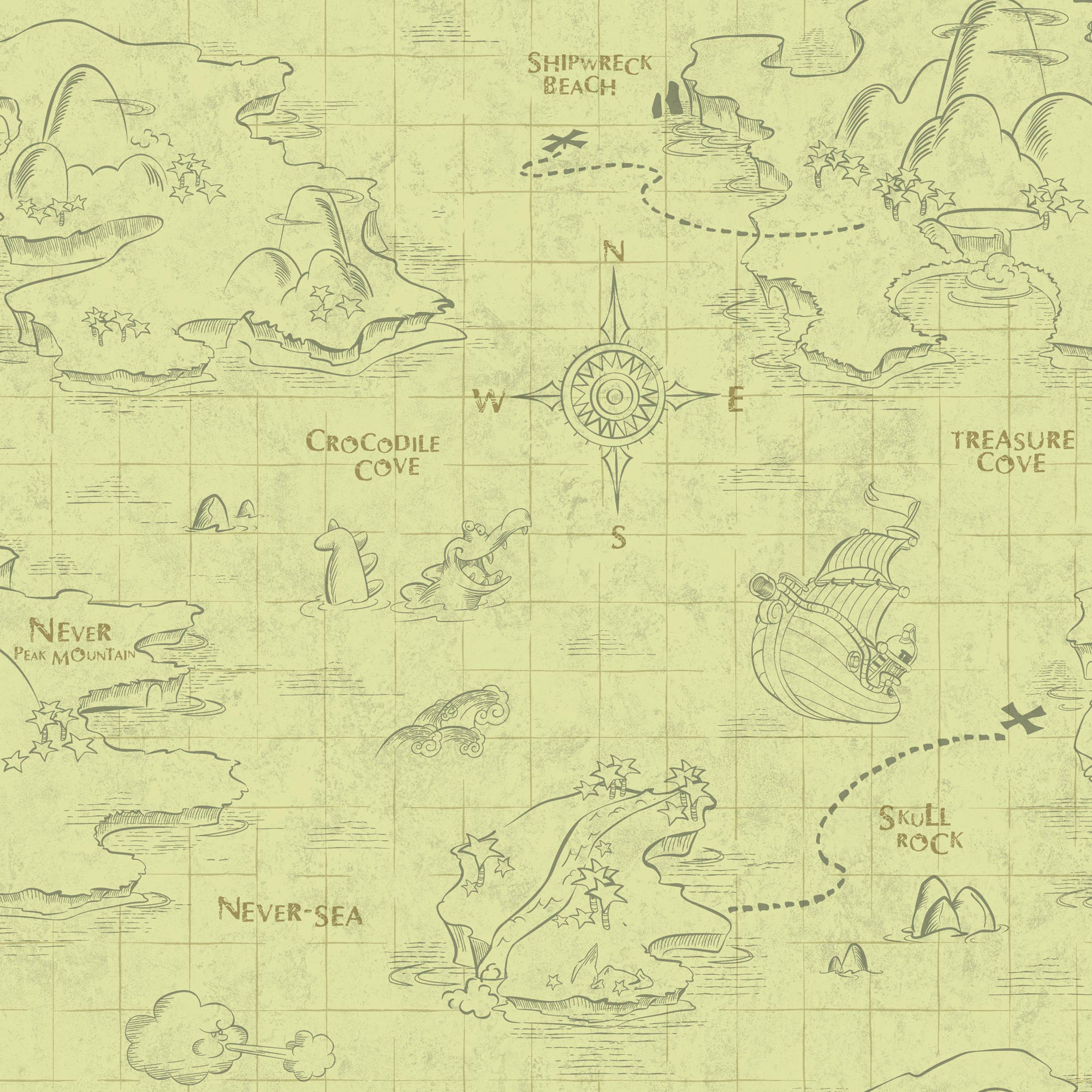 Walt Disney Kids II Pirate Map Wallpaper
