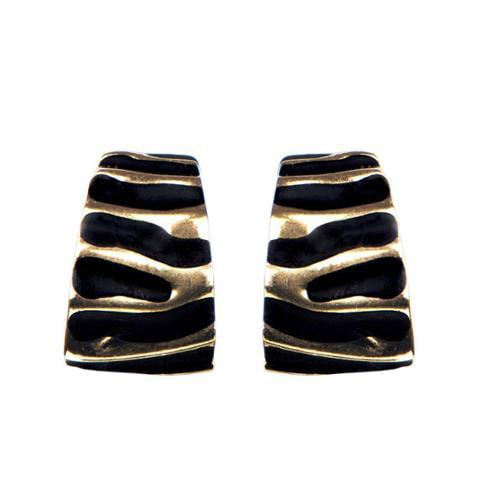 Emitations Brass Black Clip on Earrings