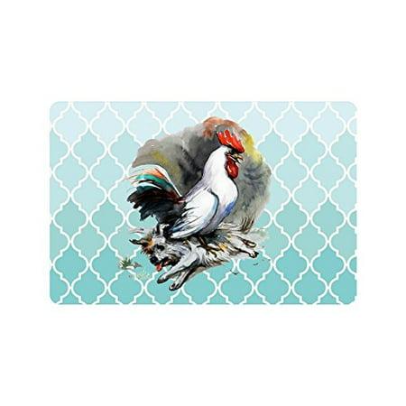 MKHERT Rooster Win Over The Dog Moroccan Trellis Doormat Rug Home Decor Floor Mat Bath Mat 23.6x15.7 inch ()