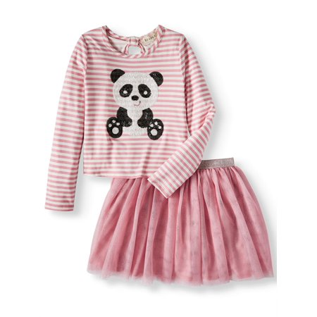 Sequin Panda Long Sleeve Tee and Mesh Tutu Skirt, 2-Piece Outfit Set (Little Girls and Big Girls)