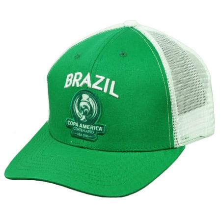 Brazil Brasil Copa America Centenario 2016 Mesh Futbol Soccer Hat Cap Green White - Cap In Soccer