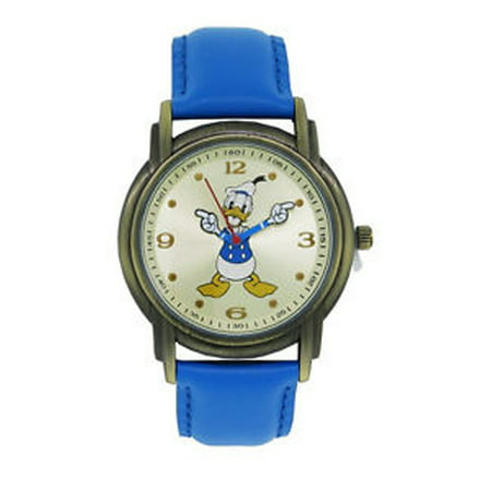 Space DD013 Donald Duck Unisex Gold Tone & Leather Classic Moving Hands Watch Disney Classic Watch