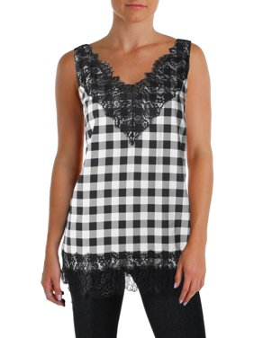 dbdc2c2a Product Image BOSS Hugo Boss Womens Iminka Checkered Lace Trim Pullover Top