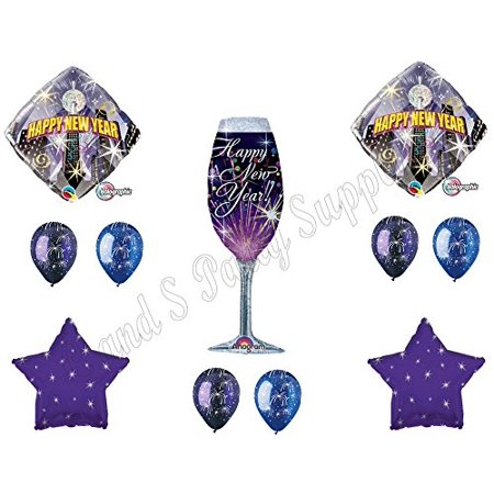 FIREWORKS NEW YEAR'S EVE PARTY Balloons Decoration Supplies Champagne Skyline - New Years Balloons