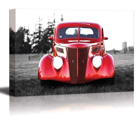 wall26 Canvas Prints Wall Art - Classic Red Vintage Car | Modern Wall Decor/Home Decoration Stretched Gallery Canvas Wrap Giclee Print. Ready to Hang - 16