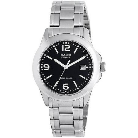 Dial Bracelet Watch Set (Men's Black Dial Watch, Stainless-Steel Bracelet )