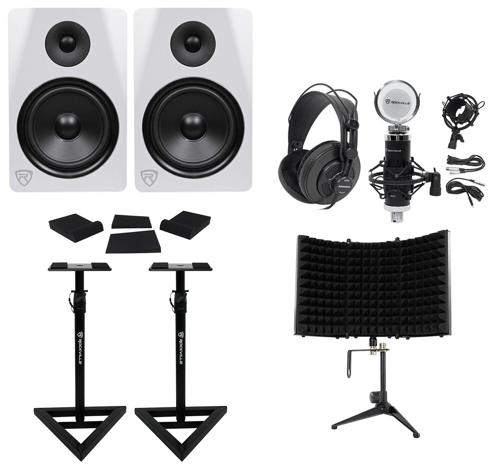 "2) Rockville DPM8W 8"" 600w Active Studio Monitors+Stands+Headphones+Mic+Shield by ROCKVILLE"
