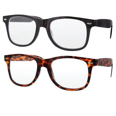 2 Pair Value Lot Reading Glasses for Both Men Women 1 Black 1 Tortoise Frame Clear Lens, +2.00