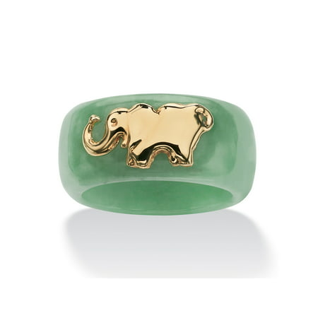 Jade Floral Band Ring - Round Genuine Green Jade 10k Yellow Gold Elephant Ring Band