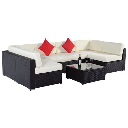 Goplus Sectional Wicker Patio Rattan Sofa Couch Brown