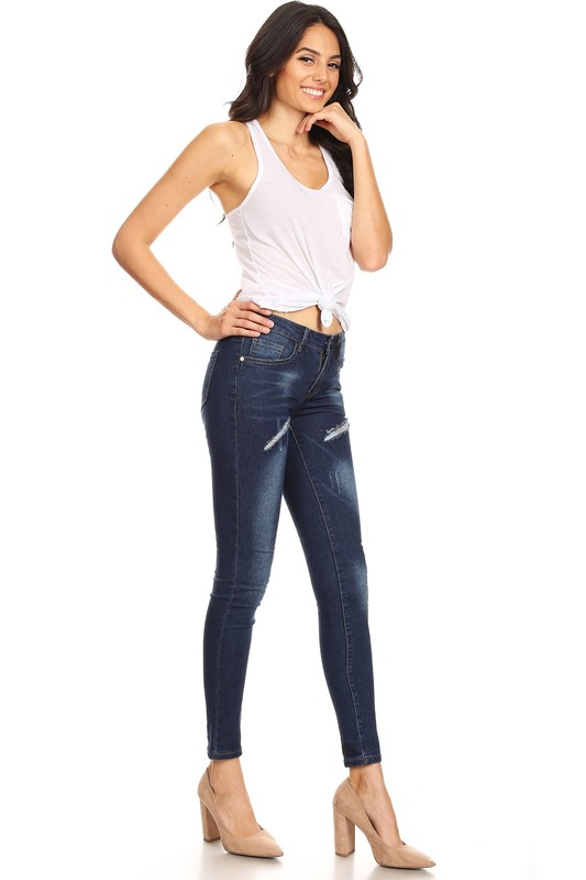 Womens Ladies Vintage Celeb Ripped Skinny High Waist Slim Denim Pants Jeans 8-18