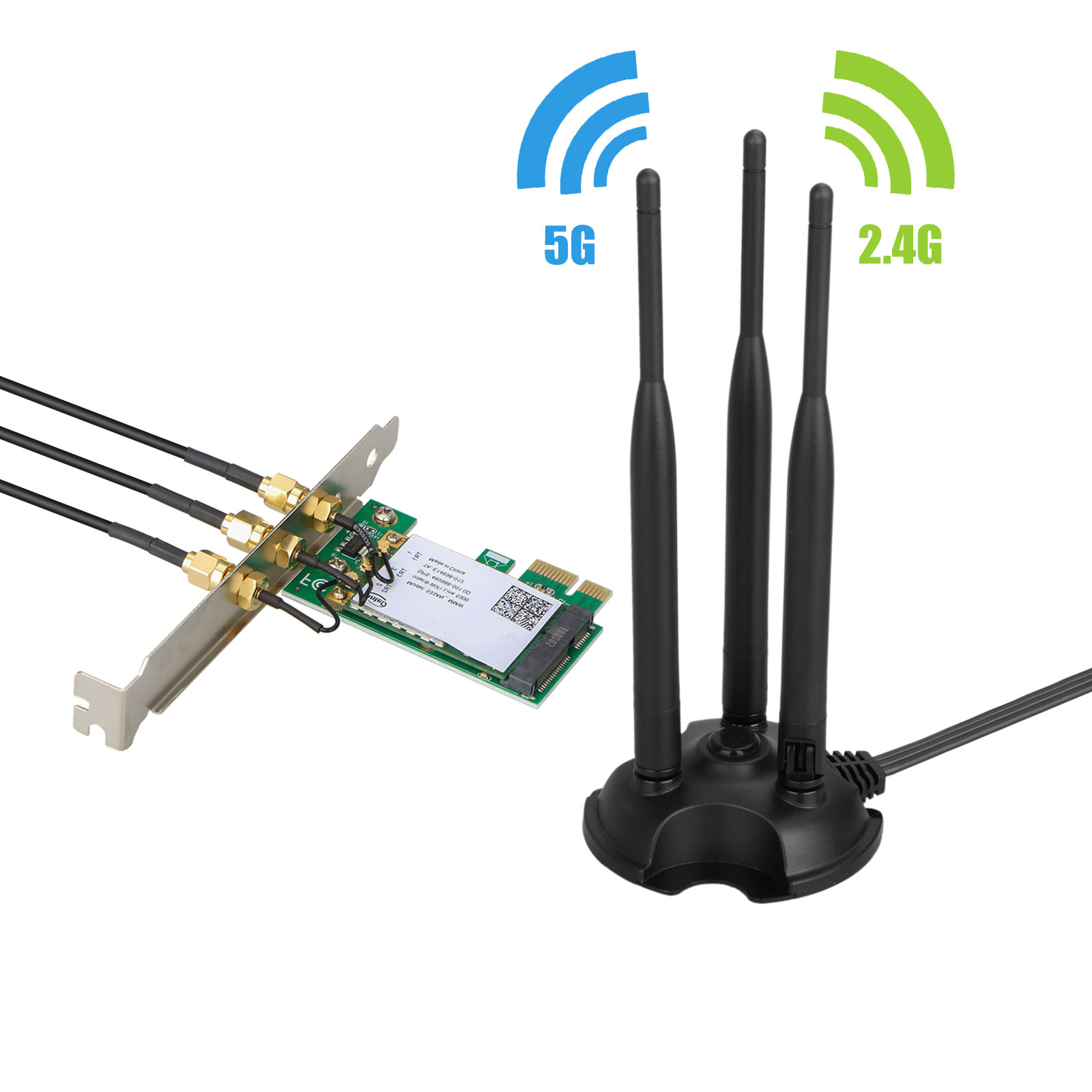 WiFi Adapter/Wireless Adapter/Network Card, 450Mbps PCI-E WiFi Wireless Card Adapter Antennas for Desktop Laptop PC, Support Windows XP/Win7/Win8/Win8.1/Win10 System