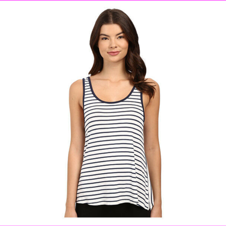 Splendid Women's Mesh Trim Tank in White/Navy Stripes, Small Metallic Trim Tank