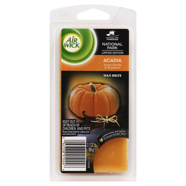 Air Wick Scented Candles Wax Melts, Acadia Vanilla and Pumpkin Scent, 3.1 Ounce