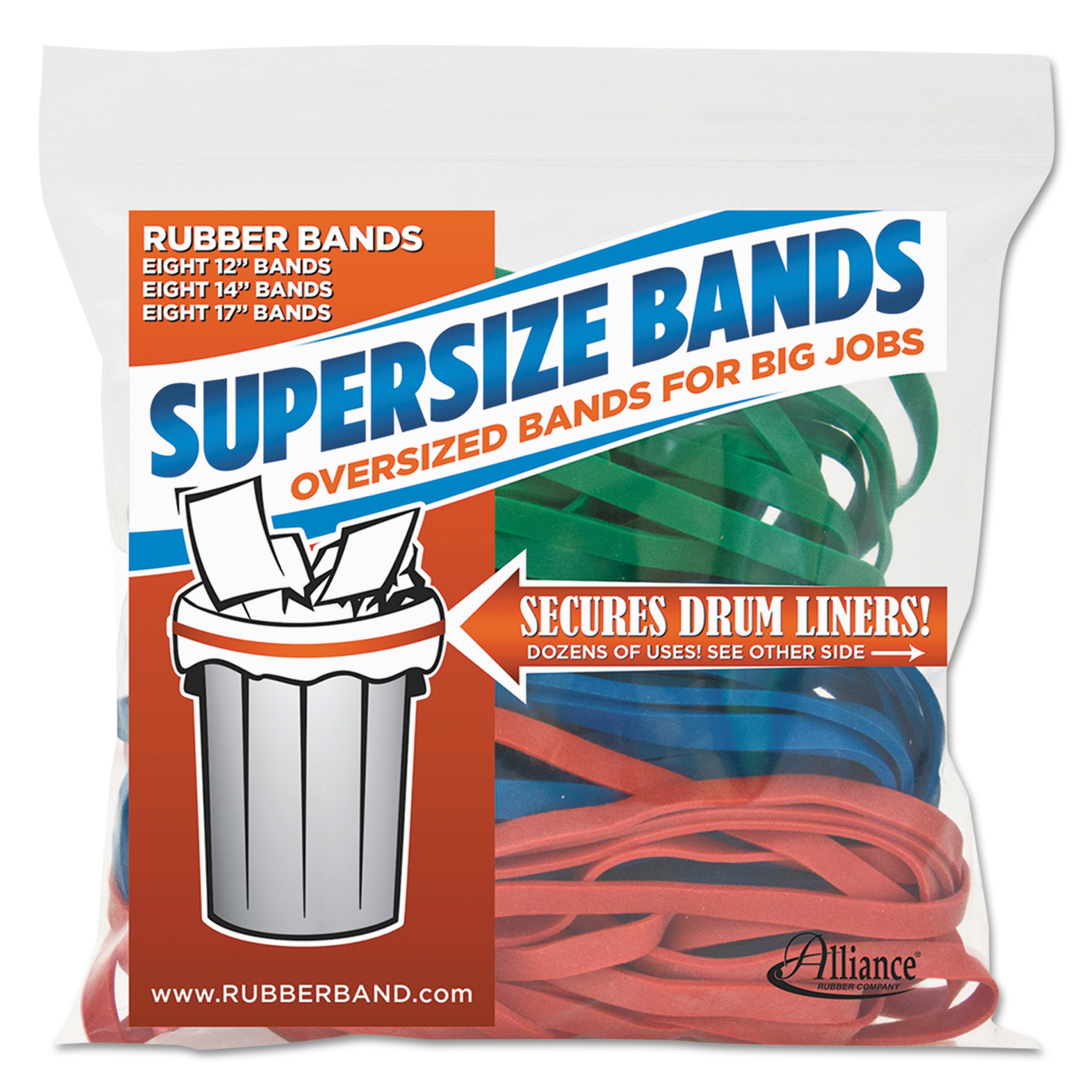 Alliance, SuperSize Bands, Assorted Sizes & Colors, 24-Pack
