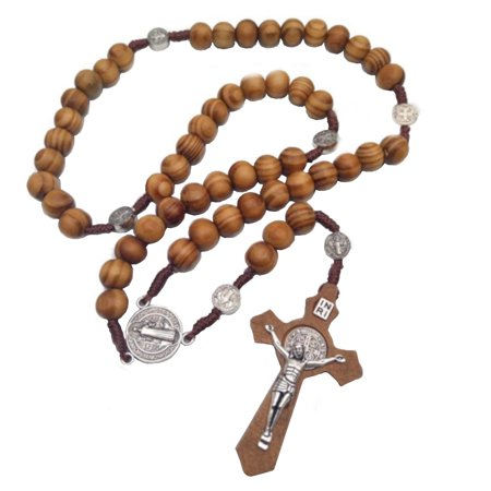 Christian Hand Made Catholic Religion Wooden Prayer Rosary Bead Cross Necklace Pendant J 398
